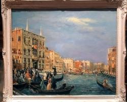 Venetian Canal, Tablou venetian, Peisaj Venetia, Tablou cu peisaj de vara, tablou cu canal, tablou arhitectural