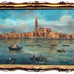 Venetian Oil On Board Painting, Island of Burano. 18th Century, Tablou cu peisaj de vara, tablou cu  lac, peisaj din natura, tablou cu barci, tablou cu oras in departare