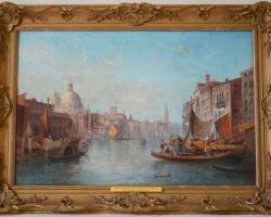 Venetian Venice Seascape, Tablou cu peisaj Venetian, tablou cu gondole, tablou cu vapoare, tablou nautic, tablou arhitectural cu cladiri Venetiene