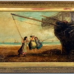 Victorian 3 girls on a swing painting, Tablou cu peisaj de vara, tablou peisaj din natura, tablou cu copii la malul marii
