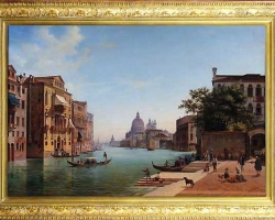 View of Grand Canale in Venice. 1853. Tablou pictat manual in ulei pe panza.
