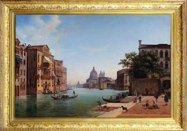 View of Grand Canale in Venice. 1853. Tablou pictat manual in ulei pe panza.