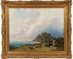 View over the Bristol Channel by Eugen Krüger, Tablou cu peisaj marin cu vapoare tablou nautic, tablou cu malul marii 19th C Oil Painting