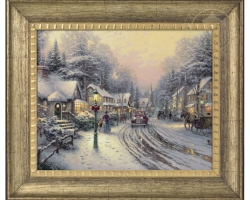 Village Christmas Thomas Kinkade, tablou cu peisaj de iarna, tablou cu zapada
