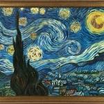 Vincent Van Gogh Starry Night Luxury Line . Tablou pictat manual ulei pe panza