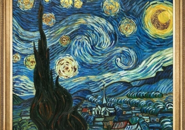 Vincent Van Gogh Starry Night Luxury Line . Tablou pictat manual ulei pe panza