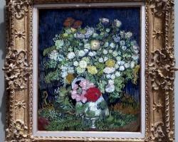 Vincent Van Gogh, Vas cu fiori de gradina, tablou cu flori albe si galbene, tablou cu flori de toamna, tablou floral