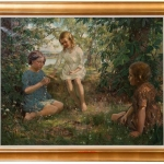 Vintage Oil Painting of 3 Girls Stringing Flowers, Francis Patrick Martin, Tablou cu peisaj de vara, tablou cu copii jucandu-se, tablou cu flori, peisaj din natura