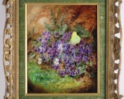 Violets And A Brimstone Yellow Butterfly, Albert Durer Lucas, Vas cu fiori de gradina, tablou cu violete si fluture galben, tablou cu flori mov, tablou floral