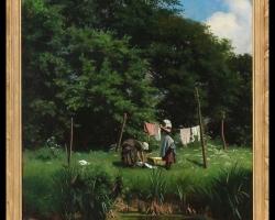 Washerwomen Painting by Viggo Pedersen, Tablou cu peisaj de vara, tablou cu lac langa padure, peisaj din natura, tablou cu femei la malul lacului