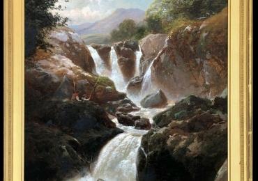 Waterfall Antique Oil Painting by Edward Henry Holder, Tablou cu peisaj de vara, tablou cu cascade, tablou cu padure si apa curgatoare, peisaj din natura