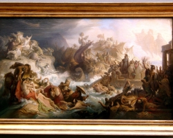 Wilhelm von Kaulbach Die Schlacht von Salamis 1858, Tablou cu peisaj de vara, tablou cu cascada, tablou scena dramatica din mitologia Greaca