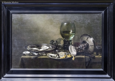 Willen Claesz Still Life with Oysters, Silver Cup, and Crystal Glasses, 1635, Tablouri cu cupa d