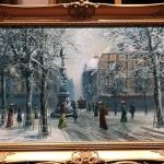 Winter landscape, Tablou cu peisaj de iarna tablou cu strazi inghetate, tablou cu oameni care se plimba pe strazi, tablou cu zapada