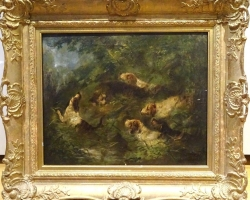 Woodland Hunt Oil Painting, Tablou cu scena vanatoreasca tablou cu caini de vanatoare, tablou cu lac