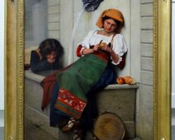 Young Italian Girl at Fountain, Tablou cu femeie italianca langa fantana de apa, tablouri living, picturi in ulei pe panza, picturi cu peisaje