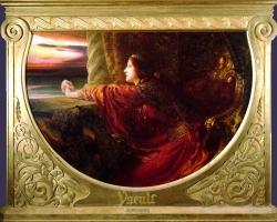 Yseult by Frank Dicksee, Tablou cu peisaj de vara, tablou peisaj marin, tablou cu femeie privind peisajul de la balcon, Tablou cu femeie in rochie rosie