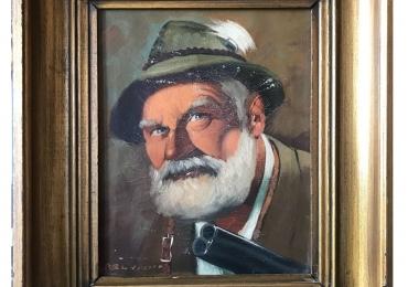 Hamingway, tablou cu Portret, Portret cu vanator, tablou pictat in ulei pe panza 45×40 cm, Portrait of Ernest Hemingway