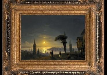 aivazovsky ivan constantinovich, The Galata Tower, Tablou cu peisaj marin cu vapoare tablou nautic, tablou cu malul marii, Peisaj de vara, peisaj cu apus de soare