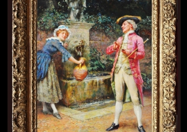 The fountain, Tablou cu peisaj de vara, tablou cu parc, tablou cu flori, peisaj din natura, tablou cu femeie langa fantana, tablou cu indragostiti, tablou rococo