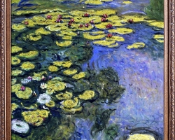 luxury Line 'Water Lilies Metallic Embellished, Claude Monet . Tablou pictat