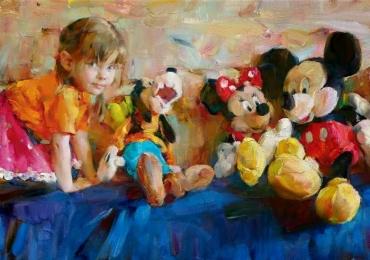 portret cu copilul tau, portrete copii, portrete fetite, tablou pentru camera de fetita, Cadouri inedite, portrete la comanda, Tablouri pictate cu rama sau fara rama