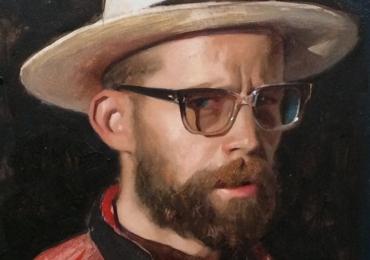 portret de barbat cu palarie. Portrete pictate manual in ulei pe panza