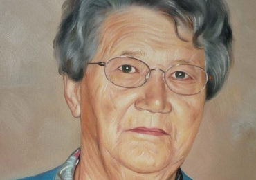 portret de bunica, Portrete la comanda pictate in tempera si tus, tehnica media mix