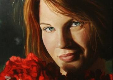 portret de femeie cu buchet de flori, Comenzi tablouri personalizate, portrete la comanda, Tablouri pictate personalizate