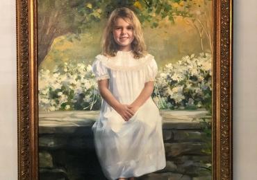 portret de fetita ccu rochie alba, Cadouri speciale, portrete la comanda, Tablou pictat pe panza