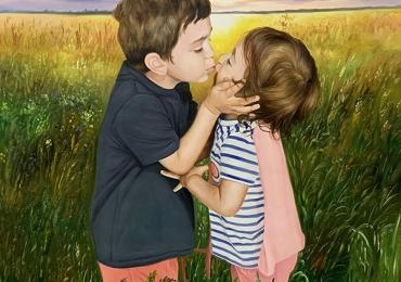 portrete cu copii, portret pictat la comanda, portrete bust, portret dupa fotografie, portret de copil dupa poza, idei de cadouri pentru casa naoua