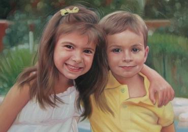portrete cu copii, portret pictat la comanda, portrete bust, portret dupa fotografie, portret de copil dupa poza, portret frate si sora